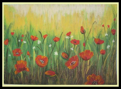 Floral,Full Blossom,ART_1385_11630,Artist : Chitra Ariram,Pastels