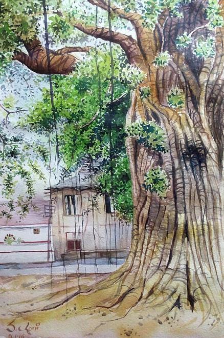 Tree morning watercolour Santosh Loni Village india ,its beautiful morning 13*9,ART_715_5761,Artist : Santosh Loni,Water Colors