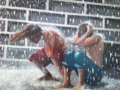 rain,monsoon,children,Monsoon Mastii  40x30,ART_889_4154,Artist : Harpreet Kaur,acrylic on canvas