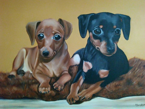 dogs,animals,,Adorable puppies size 40x30,ART_889_4028,Artist : Harpreet Kaur,acrylic on canvas