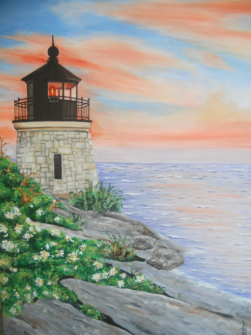 lighthouse,seaside,nature,A Vintage Light House,ART_889_3579,Artist : Harpreet Kaur,acrylic on canvas