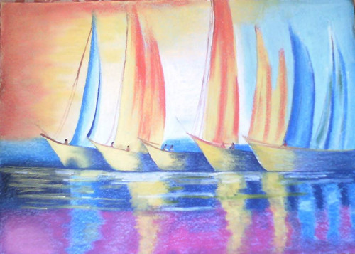 Boats,Sunset Reflection,ART_1385_11686,Artist : Chitra Ariram,Pastels