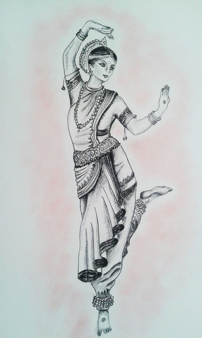 Ancient India,INDIA DANCER,ART_1996_16276,Artist : Maria Sorbello,Charcoal