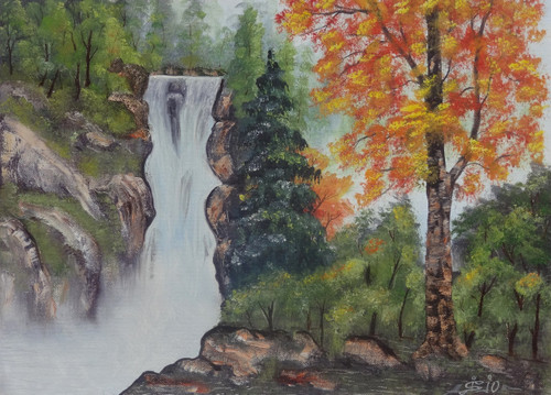 Tree, Nature, Forest, Oil, Waterfall, Mountain,A Waterfall View (SA103),ART_1995_16332,Artist : Sijo Joseph,Oil