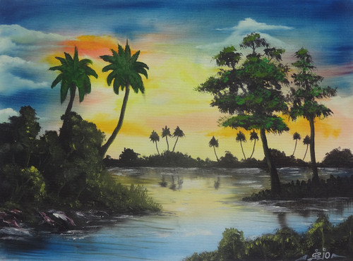 Tree, Nature, Forest, Oil, Lake,Lake in a Cloudy Evening (SA102),ART_1995_16331,Artist : Sijo Joseph,Oil
