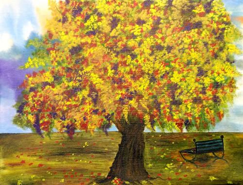 TREE, NATURE, AUTUMN, LEAVES, GREEN,Autumn Tree,ART_1932_15921,Artist : BHARTI JAIN,Acrylic