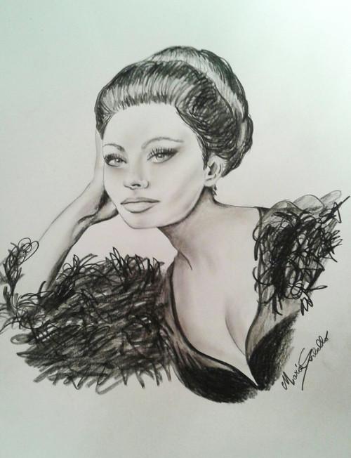 Sofia Loren,Sofia Loren,ART_1996_16363,Artist : Maria Sorbello,Charcoal