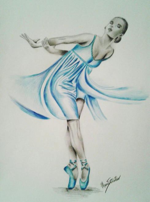 Dancer,Classical dancer,ART_1996_16360,Artist : Maria Sorbello,Charcoal