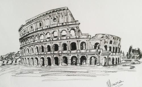 Rome,Colosseum,ART_1996_16280,Artist : Maria Sorbello,Charcoal
