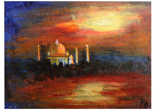 taj mahal,forts,monuments,taj mahal,ART_2008_16407,Artist : Kokila Joshi,Acrylic