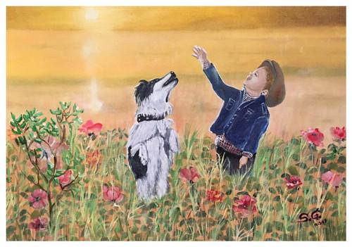 Dog, Boy, ,Friendship forever,ART_168_16401,Artist : Subhash Gijare,Oil