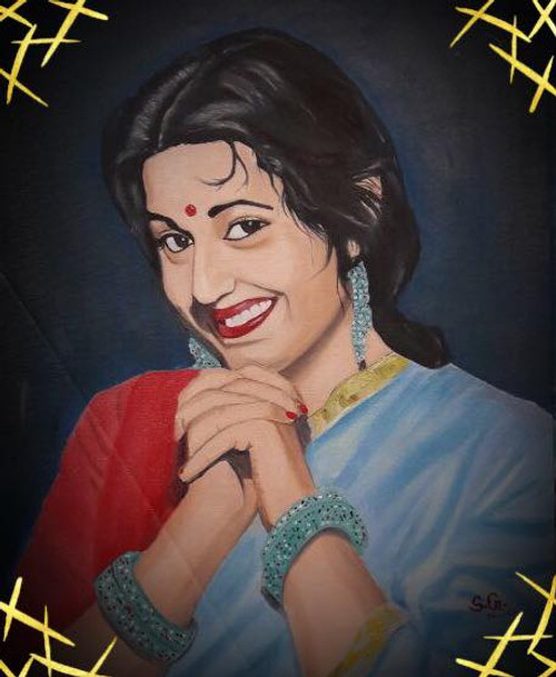 Madhubala, Indian Woman,Madhubala -The Venus of Indian Cinema,ART_168_16400,Artist : Subhash Gijare,Oil