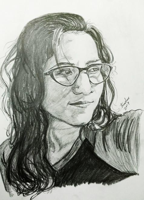 Portrait, Glasses, Girl, Beauty,Girl with glasses,ART_2016_16395,Artist : Koustuv Chakraborty,Pencil