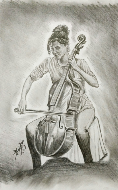Music, Woman, Violin, Lady, Beauty,Without music life is nothing,ART_2016_16393,Artist : Koustuv Chakraborty,Pencil