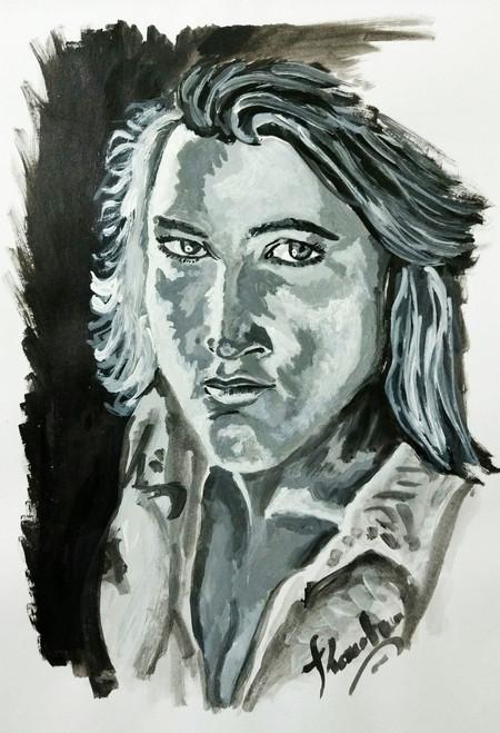 Beauty, Lady, Woman, Eyes,Look into the eyes,ART_2016_16392,Artist : Koustuv Chakraborty,Acrylic