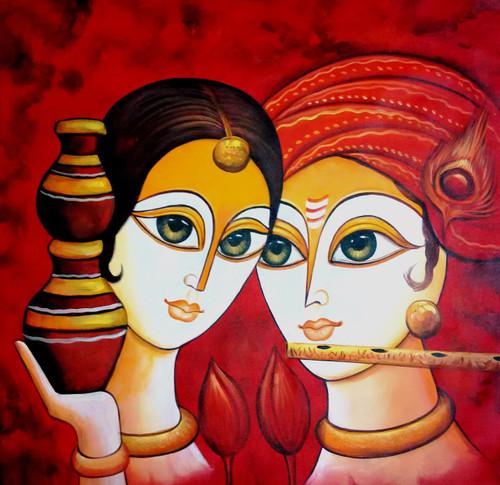 ,Radha Krishna Matki New,ART_1229_2677,Artist : Pallavi Jain,Acrylic