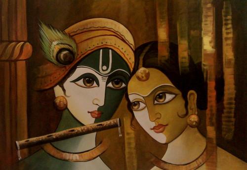 ,Radha Krishna in Love,ART_1229_2410,Artist : Pallavi Jain,Acrylic
