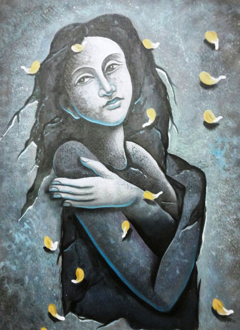 ,lady with Petals,ART_1229_2223,Artist : Pallavi Jain,Acrylic