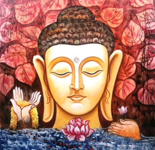 ,Buddha Red Leaves,ART_1229_1985,Artist : Pallavi Jain,Acrylic