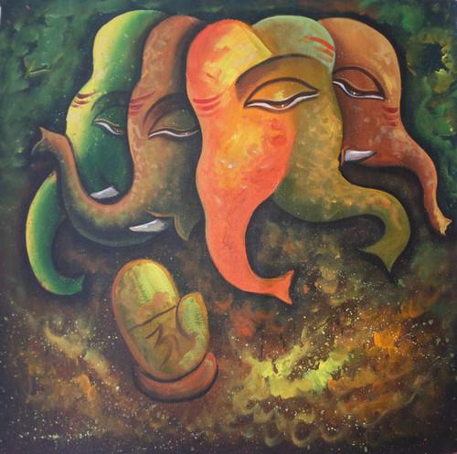 ,Ganesha (5 Faces),ART_1229_734,Artist : Pallavi Jain,Acrylic