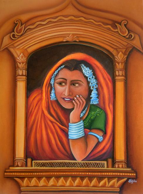 rajasthan, lady, jharokha, portriats,The Wait,ART_647_16412,Artist : Jigisha Dwivedi,Oil