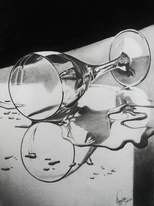 Glass, Wine, dark, empty, alone, lonely,Glass of Wine,ART_518_16430,Artist : Aakash Jain,Charcoal
