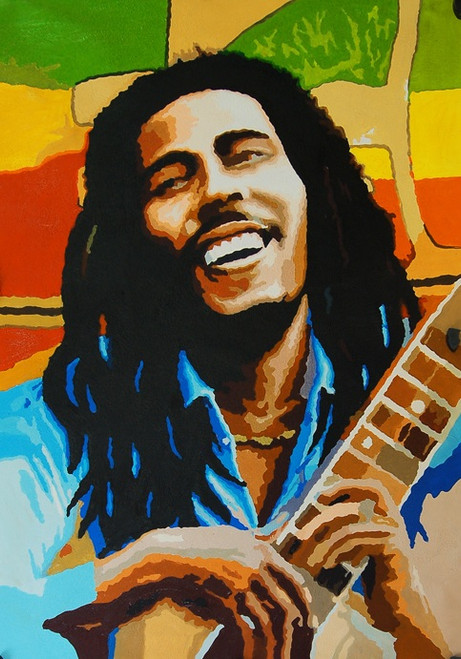 BobMarley01 - 24in X 36in,FIZ020POP_2436,Multi-Color,60X90,Man with Guitar,Modern Art Canvas Painting Buy canvas art painting online for sale by fizdi.com in India.