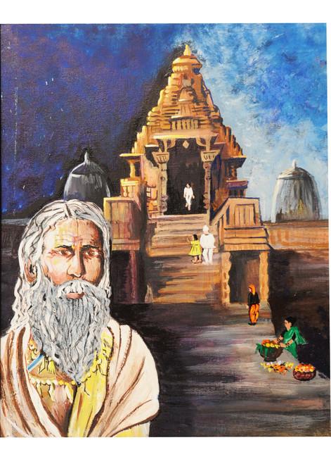 temple,figure,monuments,forts,temple,ART_2008_16485,Artist : Kokila Joshi,Acrylic