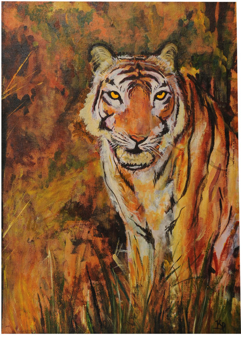 tiger,forest,wildlife,tiger,ART_2008_16484,Artist : Kokila Joshi,Acrylic