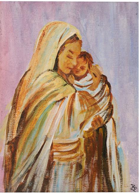 mother marry,potraits,figure,mother marry,ART_2008_16482,Artist : Kokila Joshi,Acrylic