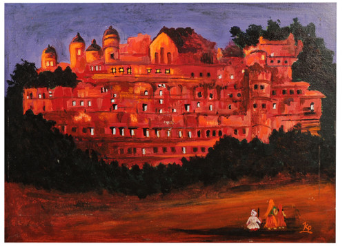 fort,momuments,rajesthani,rajesthani fort,ART_2008_16480,Artist : Kokila Joshi,Acrylic