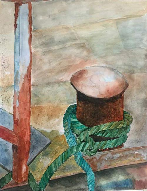 Texture, Rust, yellow, sand, walkway, sea beach, abstract, watercolor,Abandoned,ART_2047_16581,Artist : Prashant Singh,Water Colors