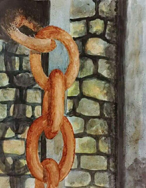 Texture, Rust, yellow, sand, walkway, sea beach, abstract, watercolor,Abandoned,ART_2047_16580,Artist : Prashant Singh,Water Colors