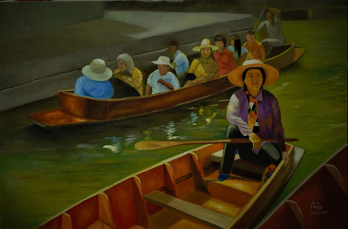 water, boat, people, market,A Day at the Floating Market Thailand,ART_1442_16550,Artist : Arun Akella,Oil