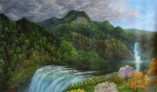 mountain range, green mountain, waterfall, sun light reflection, forest, garden, oil painting, landscape,Mountain Range Waterfall,ART_976_12200,Artist : Goutami Mishra,Oil