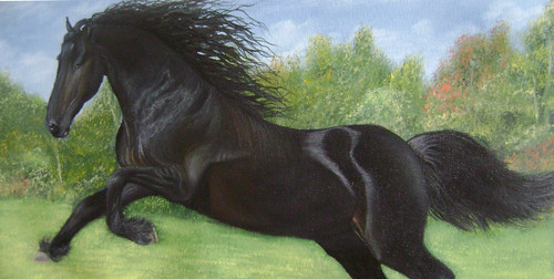Black Beauty, Running horse, horse, black horse, animal, wildlife, forest,Black Beauty,ART_976_12197,Artist : Goutami Mishra,Oil