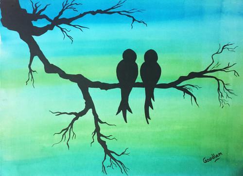 birds,love, friendship, nature, tree, branches, couple, soulmates,The bird couple,ART_2051_16909,Artist : Goodlam Chopda,Mixed Media