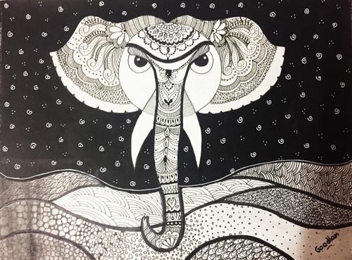 elephant, doodle, modern,,The elephant glory,ART_2051_16908,Artist : Goodlam Chopda,Mixed Media