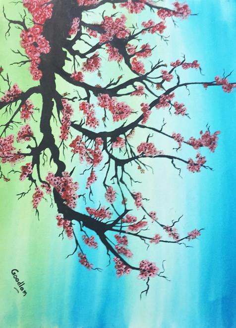 nature, flowers,tree, ,Cherry blossoms,ART_2051_16600,Artist : Goodlam Chopda,Mixed Media