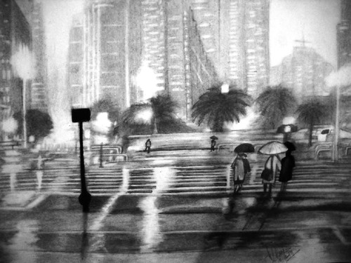 rainy, city, skyline, umbrella, rain, wet,Rainy season,ART_518_16435,Artist : Aakash Jain,Pencil