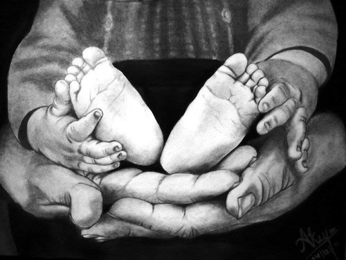 baby, child, love,parents, father, cute, small,Child,ART_518_16433,Artist : Aakash Jain,Poster Colors