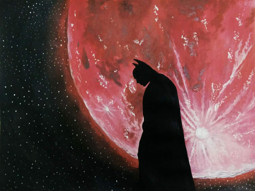Batman, Silhouette, Dark Knight, Shadow, Night, Moon,The Dark Knight,ART_518_16429,Artist : Aakash Jain,Poster Colors
