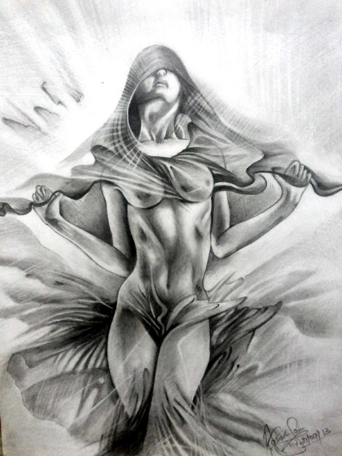 freedom, feminine, nude, erotic, naked, expression,11.69 x 16.53 - Freedom of soul,ART_518_8590,Artist : Aakash Jain,Pencil