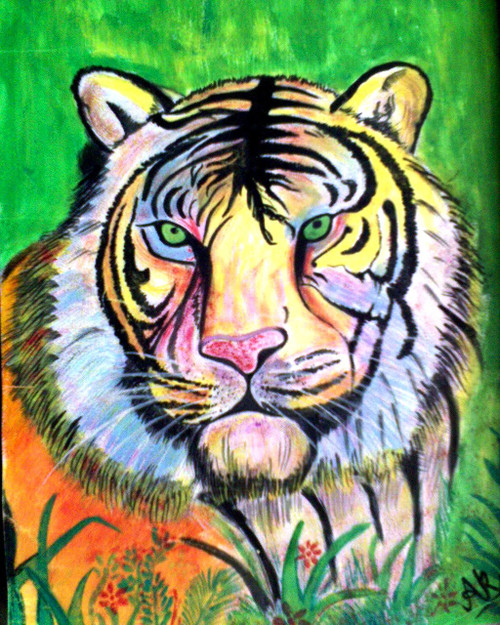 Tiger, colorful, jungle, king, fierce, wild, animal, wildlife,Fearless Lead of the Jungle,ART_518_8588,Artist : Aakash Jain,Poster Colors