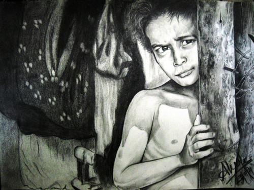 Poverty, alone, hope, mother, love,Hope and Despair,ART_518_8586,Artist : Aakash Jain,Pencil