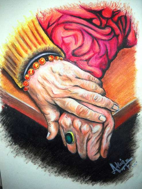 Old age, love, togetherness, support, elderly, parents,Together Forever,ART_518_8584,Artist : Aakash Jain,Pastels