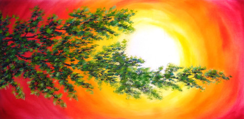 Tree, Nature, Forest, Oil, Sunrise , Sunset,A Branch of Hope (SA109),ART_1995_16740,Artist : Sijo Joseph,Oil