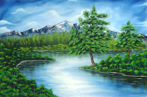 Nature , Landscape , Tree , Lake , Mountain,A Greeny Day (SA108),ART_1995_16739,Artist : Sijo Joseph,Oil