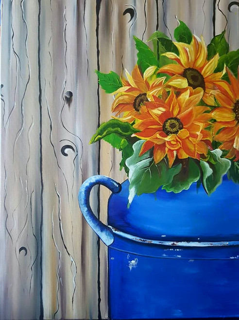 sunflower, blue vase, floral, spring,,Spring Bloom,ART_2117_17122,Artist : Asha Suresh,Acrylic
