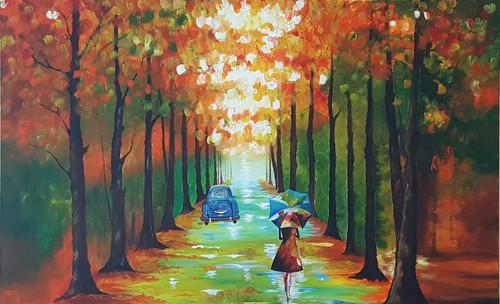forest, lady walking, rainy day, lady with umbrella,Vintage Twilight,ART_2117_17119,Artist : Asha Suresh,Acrylic
